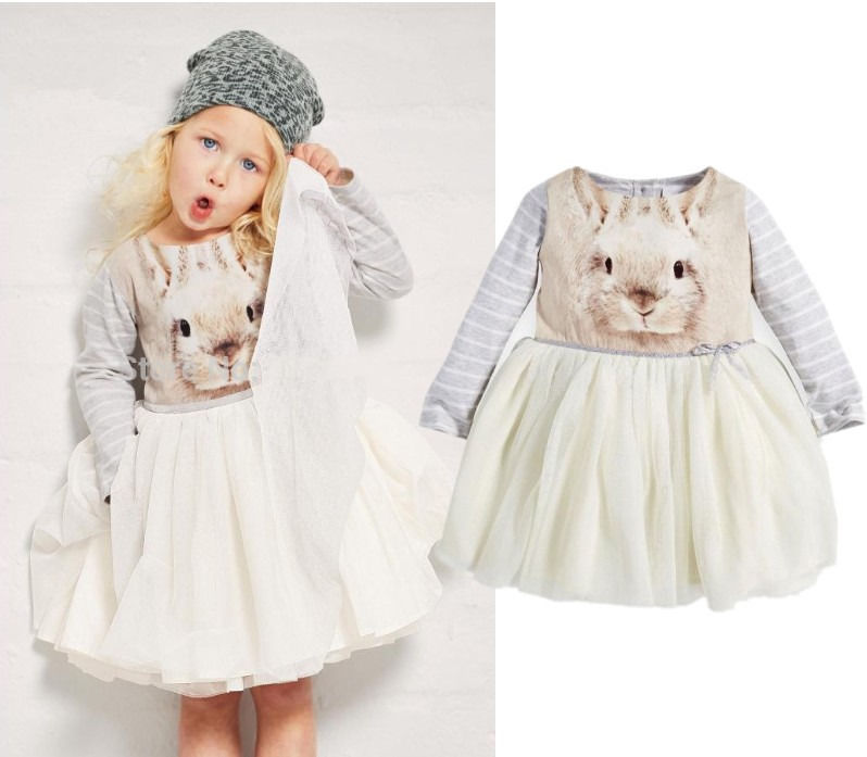 HOT BUNNY PRINT 2015 KIDS BABY GIRLS OCCASION PARTY LONG GOWN TULLE FORMAL DRESS(China (Mainland))