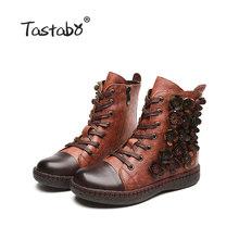 Tastabo Blume Stiefeletten für Frauen Winter Stiefel mit Pelz Klassischen Schwarz Flache mit Echtem Leder Schuhe Damen Stiefel(China)