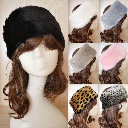 [해외]새로운 여성 여성 명품 가짜 모피 머리띠 겨울 스키 귀 muff..