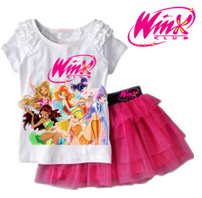 2014 New arrival Girls Clothing Set T shirt + Skirt 2Pcs Suits Winx Club Cartoon Kids Set Children's clothes Free shipping(China (Mainland))