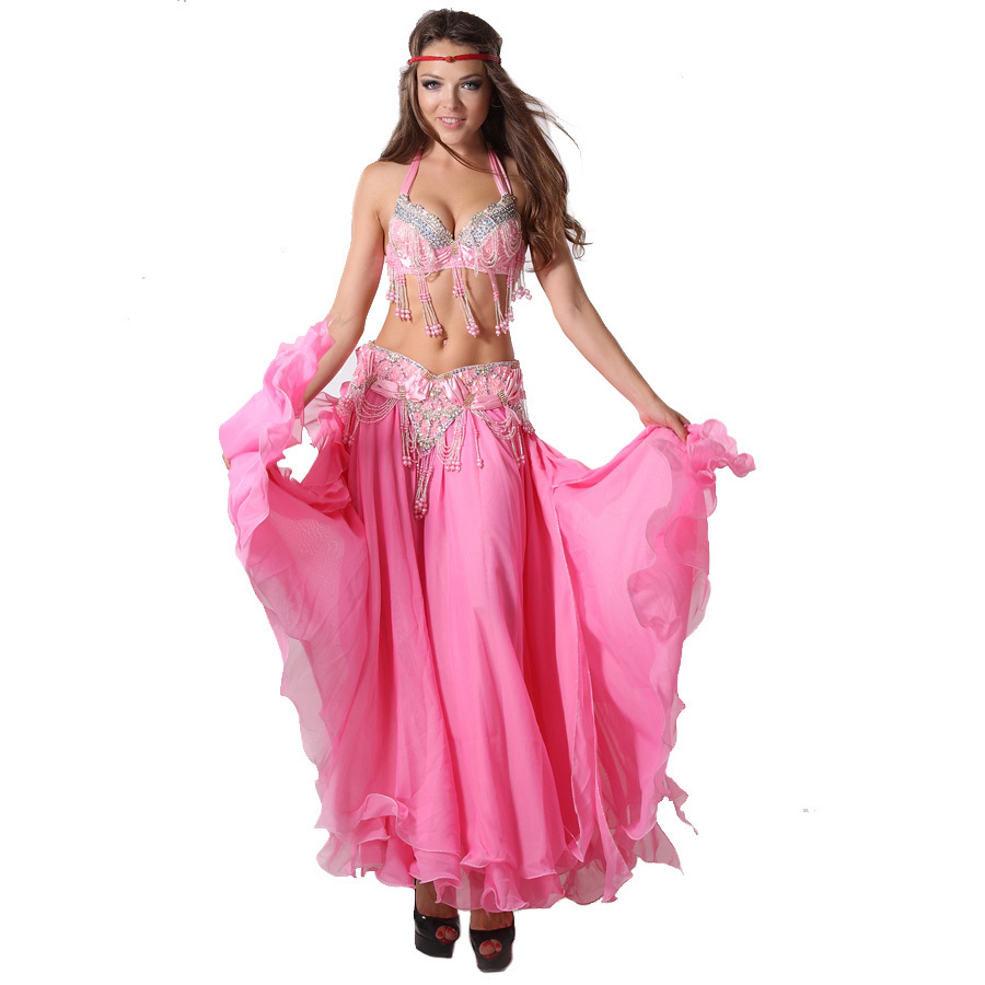 Dance Wear Belly Dance Oriental Style Beads Clothing Set with Long Skirt Costumes Belly DanceОдежда и ак�е��уары<br><br><br>Aliexpress
