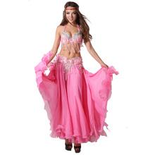 Профессиональная женская танцевальная одежда, выполнена в 11 цветах, размер S-XL, состоит из 3 частей, бюстгальтер, пояс, юбка с длинным восточным бисером, костюм для танца живота
