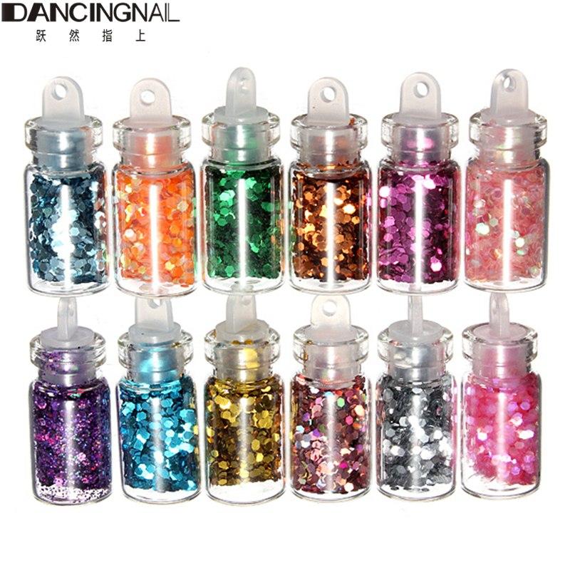 Free Shipping 12 Color Nails Glitter Paillette Powder Decoration Nail Art Powder Dust Mini Bottle Set(China (Mainland))