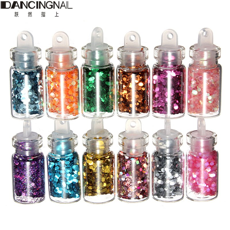 Free Shipping 12 Color Nails Glitter Paillette Powder Decoration Nail Art Powder Dust Mini Bottle Set(China (Mainland))