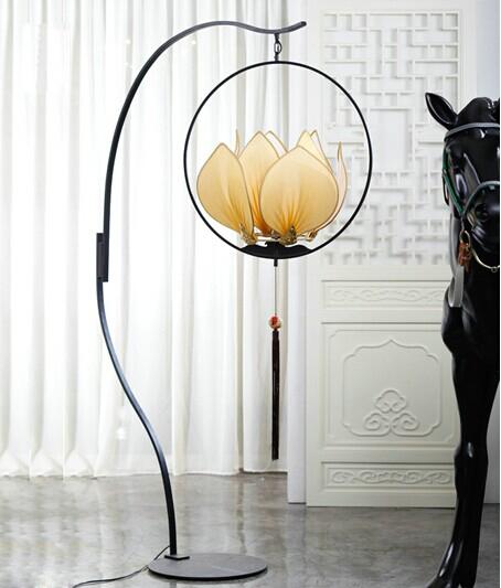 Modern new Chinese lotus lamp floor lamp fishing club restaurant Villa Restaurant personality lighting engineering technology(China (Mainland))