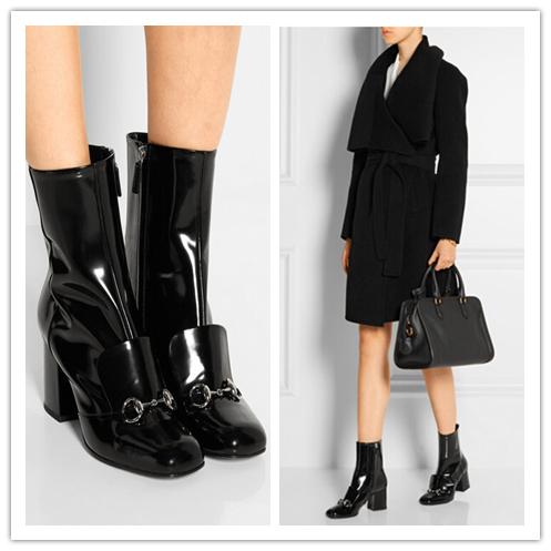 Подиум Horsebit патентная-регулируемый кожи ботильоны площадь - носом крепкий блок каблук боковой застежки-женщин итальянском обувь женщин Zapatos Mujer