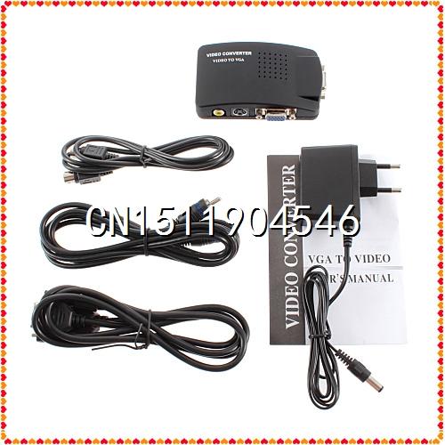 1pcs Composite Video AV S-Video RCA to PC Laptop VGA TV Converter adapter box(China (Mainland))