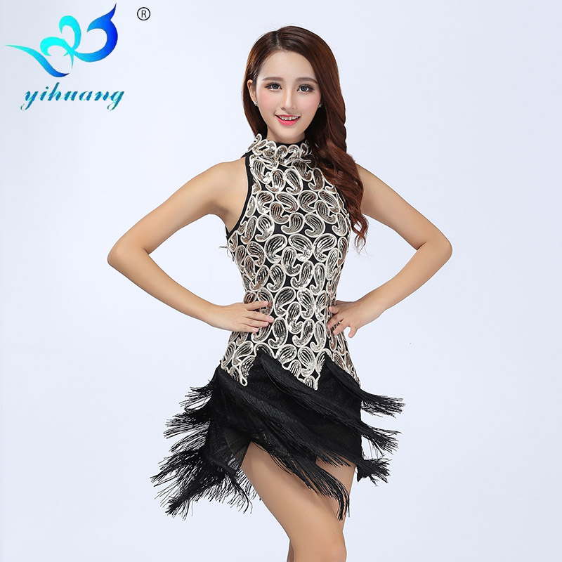 New Embroidered Sequins Latin Dance Dress Costumes Competition Clothes Square Dance Stage Performance Dancewear Tassel Dresses(China (Mainland))