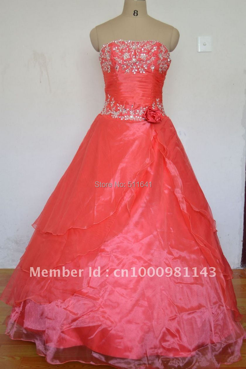 Free Shipping A-line Strapless Embroidery Beaded Handmade flowers Quinceanera Dresses 1049(China (Mainland))