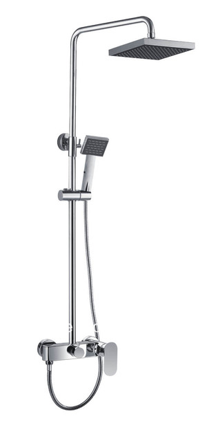 Classic Design Silver Plated Polished Bath Shower Heads Floor Stand Two Square Heads Shower Sets KF8142