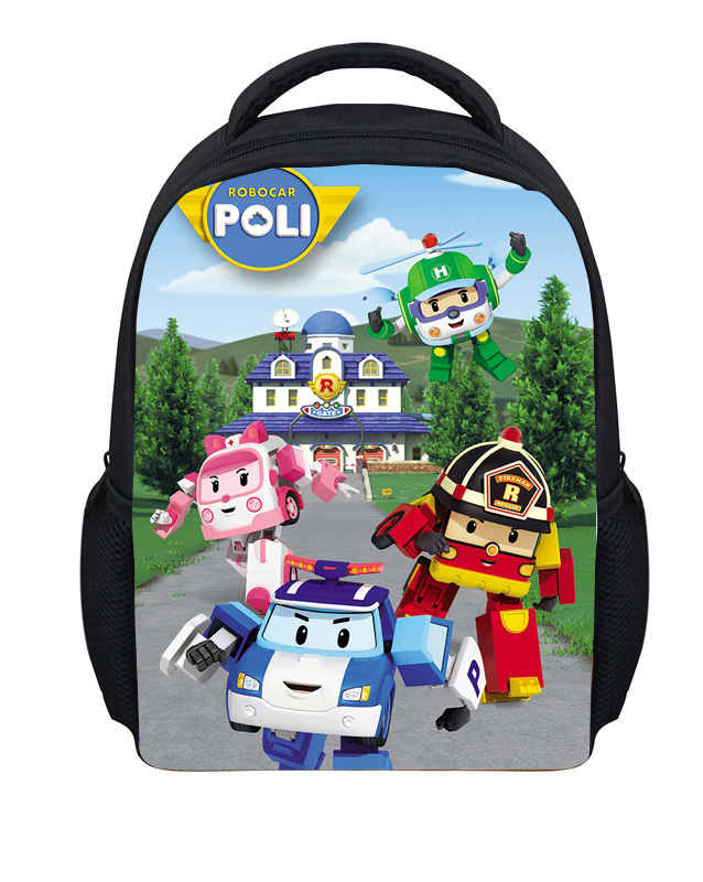 2015 Hot Small Robocar Poli Cartoon Bag Children Boys School Bags Adventure Time Schoolbag Kids Backpack Child Mochila Infantil(China (Mainland))