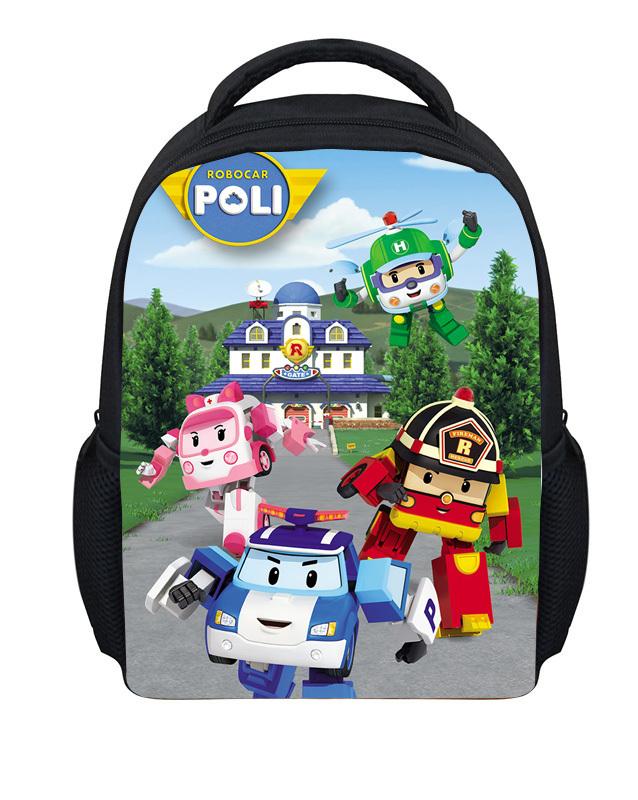 2015 Hot Small Robocar Poli Cartoon Bag Children Boys School Bags Adventure Time Schoolbag Kids Backpack Child Mochila Infantil(China (Mainland))