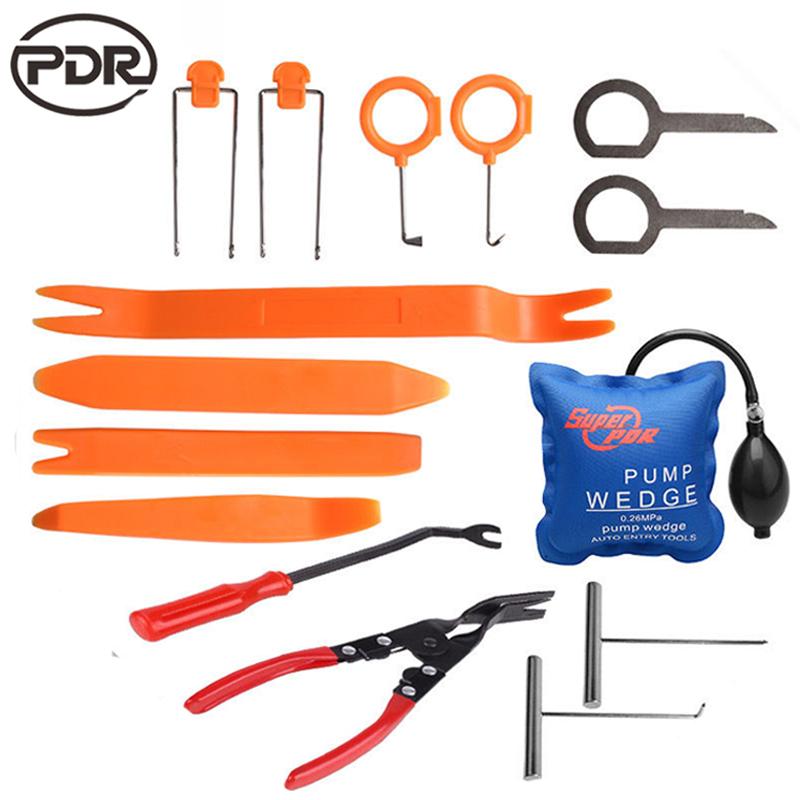 15 PCS /SET Locksmith Tools Super PDR Pump Wedge Lockpick Tools + Panel Removal Open Pry Car Dash Door Radio Trim Clip Tools Set(China (Mainland))