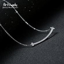 Artilady простой нежный стерлингового серебра 925 ювелирных изделий краткое сияющий CZ камень кулон ожерелье для женщин партийной подарок(China (Mainland))