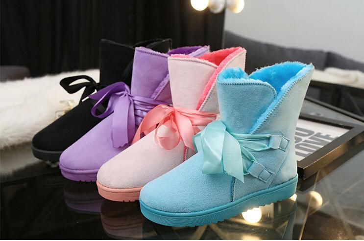 2015 winter new female winter shoes snow boots to keep warm in the tube bows women's cotton-padded shoes(China (Mainland))