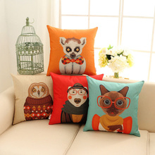 Cartoon Owl Cat Lemur Dog Cushion Cover Double-Sided Printed Cushion Covers For Seat