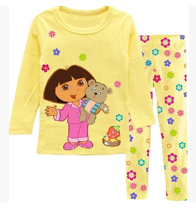 NTYSX kids Retail Children's cartoon pajamas Pjsboys cotton kids long sleeve pajamas baby girls dora Sleepwear dora mix design(China (Mainland))
