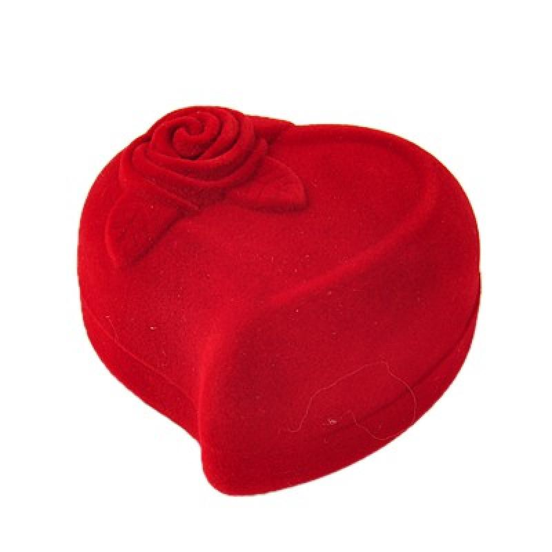 10pcs Heart Shaped Red Velvet Ring Boxes Valentines Day Gifts Boxes Packages boite bolsas para joyas bijoux 60x55mm(China (Mainland))