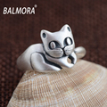 New Fashion Real Pure 990 Silver Jewelry Retro Style Cute Cat Finger Rings for Women Girls