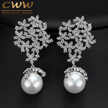 CWWZircons Chất Lượng Cao Cubic Zirconia Dài Dangle Earrings Drop 925 Sterling Silver Bạc Ngọc Trai Bông Tai Trang Sức cho Phụ Nữ Đảng Wedding CZ372(China)