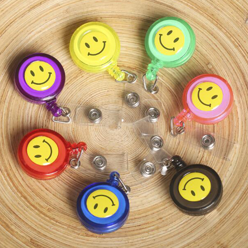 Fashion 20 Pieces Retractable Reel Lanyard Smiling Face Card Badge Holder School Office Supplies Metal Clip Easy to Use(China (Mainland))