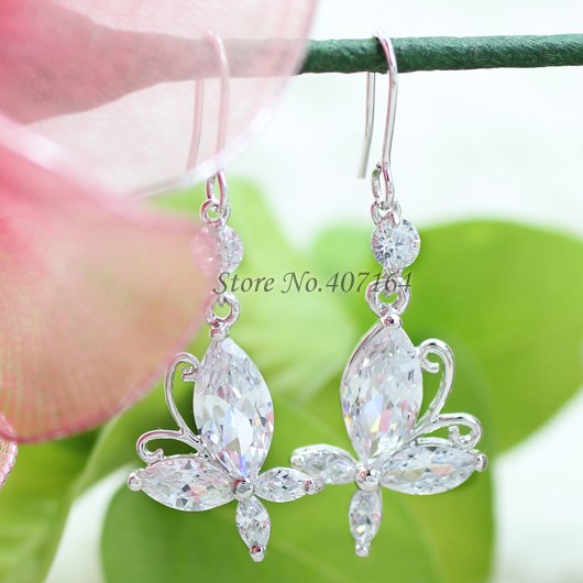 Hot classic 18K gold earrings Butterfly clear cubic zirconia stone bowknot women - SunFlower Trade Co.,Ltd store