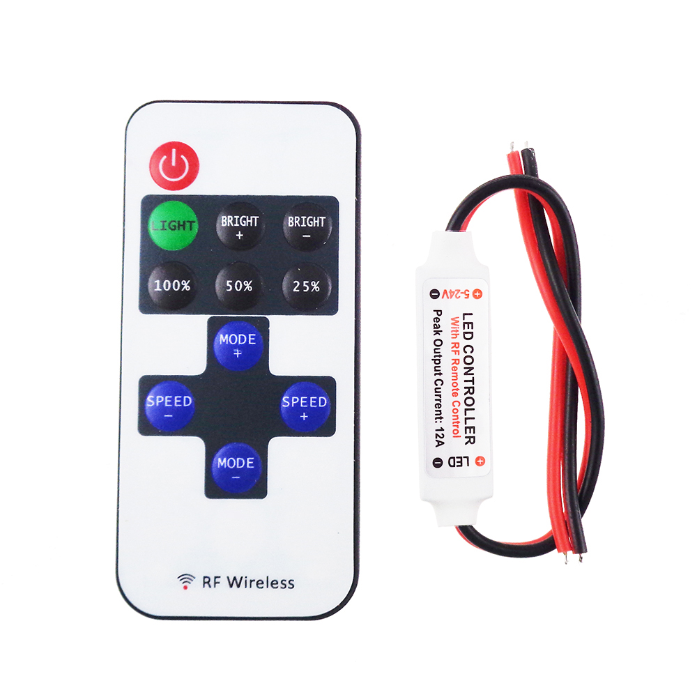 10pcs/lot Led Controller mini dimmer RF remote control 11key wireless DC5-24V 12A for led strip 5050 3528 single color QH(China (Mainland))