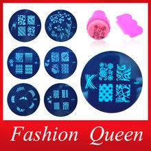 81Designs Nail At Template Set,10pcs Stamping Plates and Stamper Scraper,Nail Art Polish Stamp Stencils Manicure Nail Tools(China (Mainland))