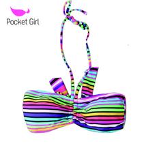 2014 newHyun-color striped one-piece bikini tops seaside spa lady sexy bikini swimwear