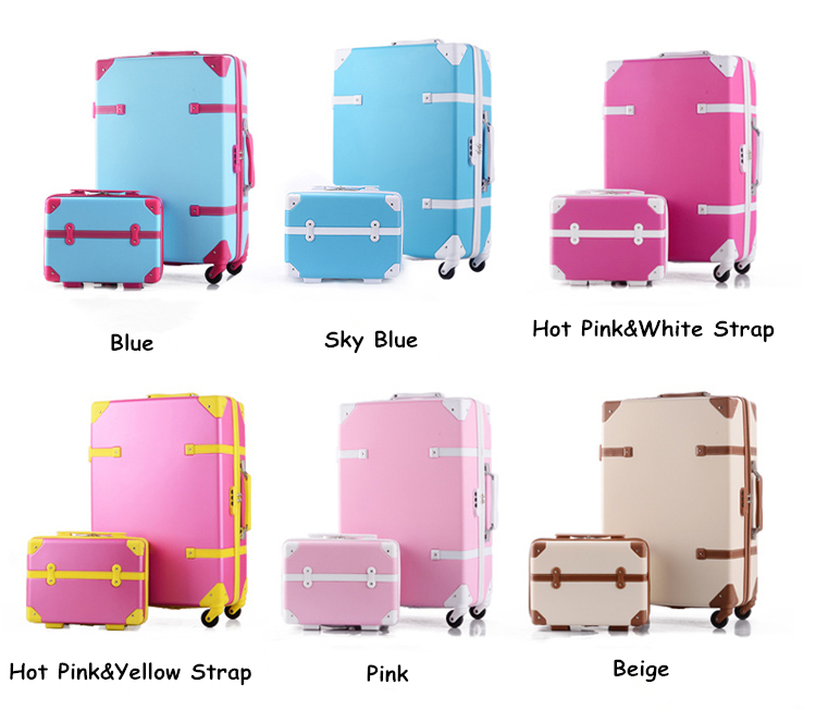 Vintage travel bag universal wheels luggage picture box trolley drag boxes suitcase gossip,suitcase set - Yiwu Winyard E-commerce Store store