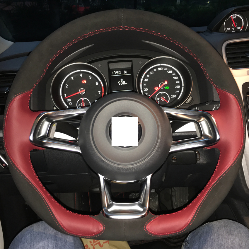 dg wine red leather black suede steering wheel cover for volkswagen golf 7 gti mk7 vw polo gti. Black Bedroom Furniture Sets. Home Design Ideas