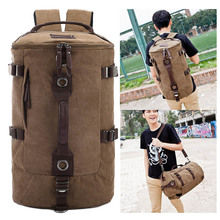 Large Capacity Man Travel Bag Outdoor Barrel-shaped Mountaineering Backpack Male Bags Hiking Camping Canvas Bucket Shoulder Bag