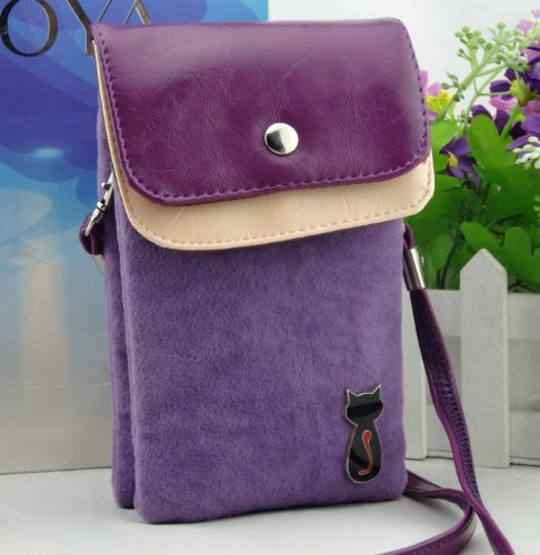 Multipurpose Cute Cat Design Pouches Cell Phone Soft PU Leather Bag for iPhone 4 4S SE