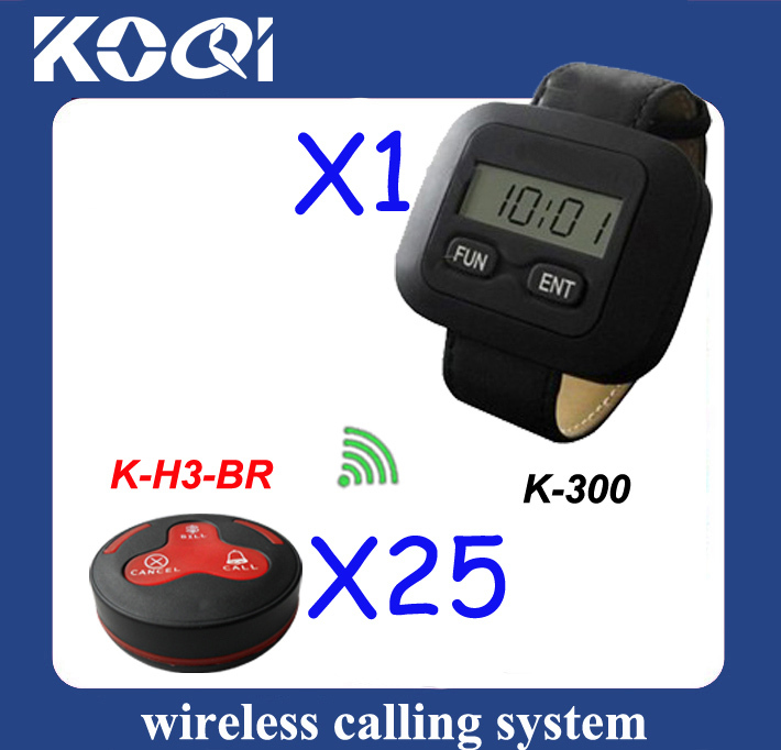 Wireless Paging System of 25pcs of H3-BR service bells and 1 pcs of K-300 watch receiver(China (Mainland))
