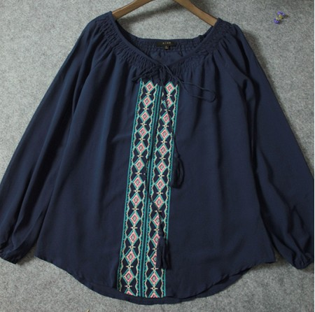 Women Embroidered Floral Peasant Vintage Ethnic Tunic Boho