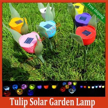 Free Shipping Fashion Tulip Solar Gardend Lamp,4pcs/lot Outdoor Yard Path Way Solar Power LED Tulip Landscape Flower Lamp Lights