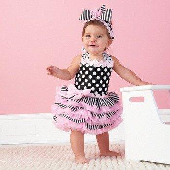 pink court cake baby dress