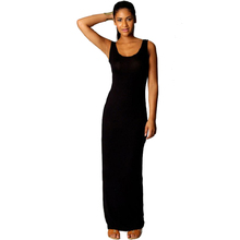 Womens 2015 Stretchy Plain Racer Back Ladies Long Vest Party Top Jersey Maxi Dress DRES #70084(China (Mainland))
