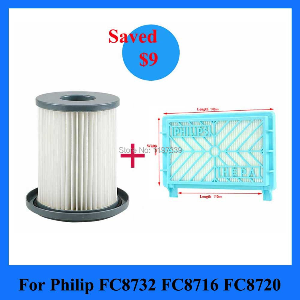 2Pcs/Set Vacuum Cleaner Filter + HEPA for Philips 87 Series FC8732 FC8720 8724 FC8740 FC8204(China (Mainland))