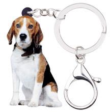 Cão Beagle WEVENI Original Acrílico Chaveiro Chaveiro Anel Nova Moda Animais Jóias Para Mulheres Meninas Saco Encantos Do Carro Gota navio(China)