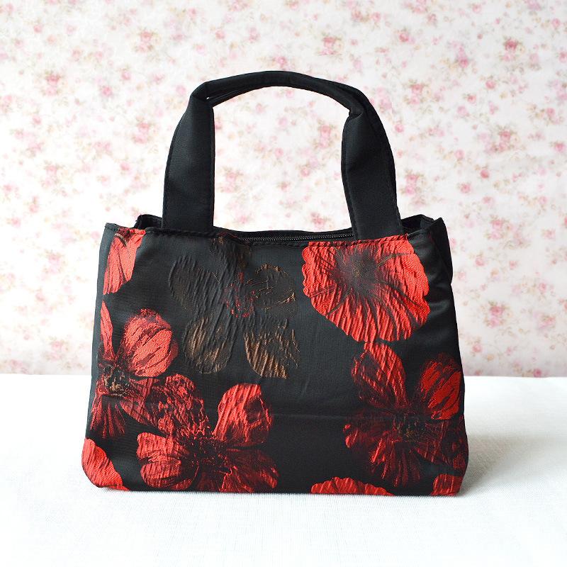 New 2014 Casual Handbag Water Resistant Microfiber Cloth Bag Practical Women's Cloth Handbags Flowers Shoulder Bags Big(China (Mainland))