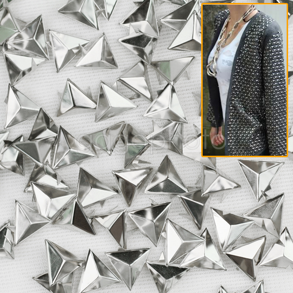 100pcs 15mm Silver Punk Rock Triangle Rivets Spike Studs Leathercraft DIY For Shoes Clothing Bag Accessories Hot Sale(China (Mainland))