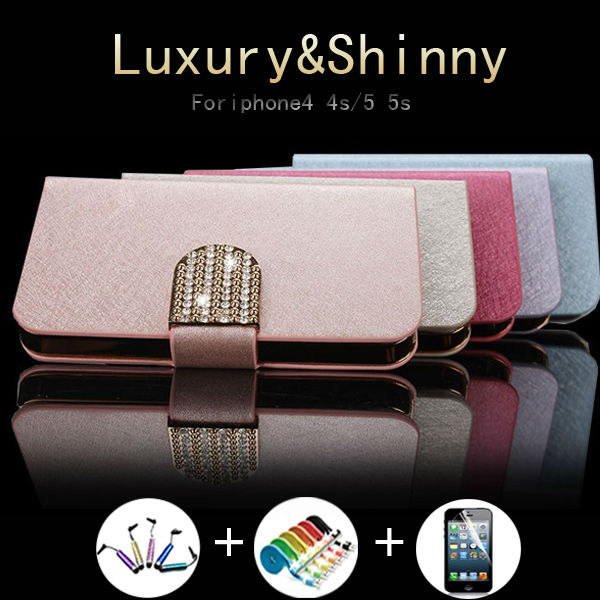 Newest Hot Sale Buy 1 get 3 gift Bling Glossy luxury silk shinny diamond Flip Case Cover For iPhone 4 4s mobile phone Leather(China (Mainland))