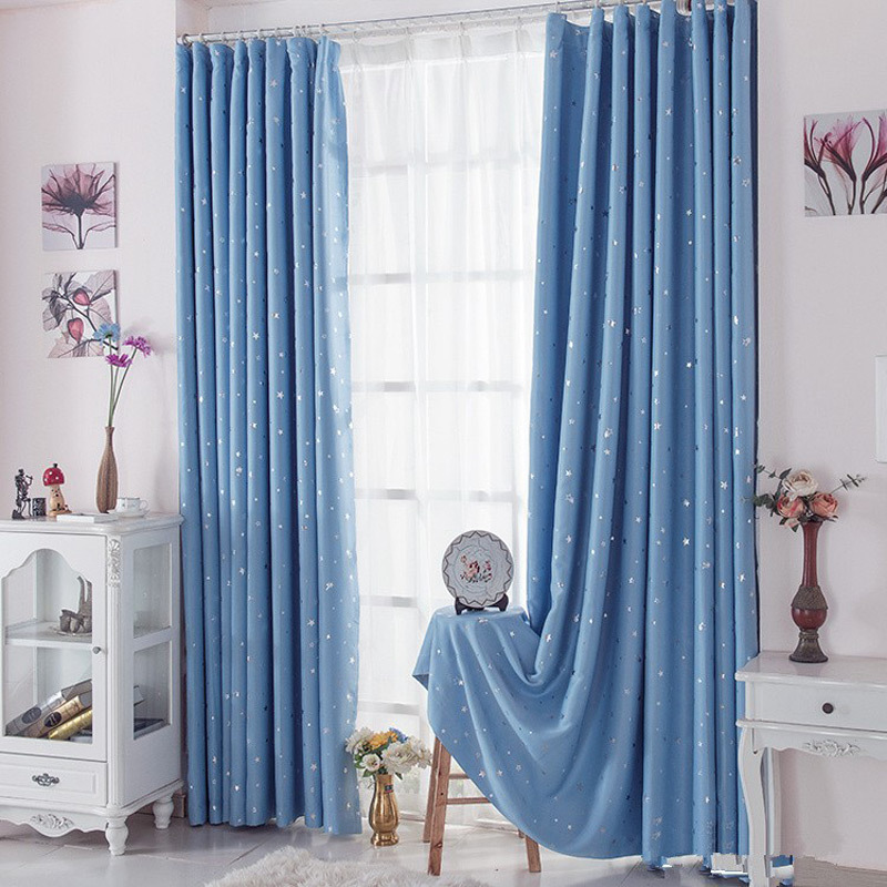 Blackout Curtains Home Star Pattern Printed Polyester Flat Window