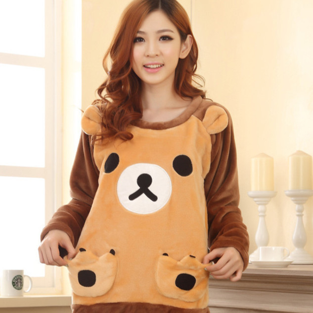 Взрывы сладкий печенье медведь комикс пижамы фланель робы для дома одежда