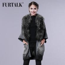 FURTALK Knit Fur Women Mongolian Fur Collar Coat Winter Sweater Wool Cardigans(China (Mainland))