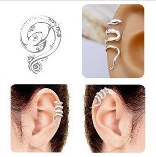 Personalized Silver Plated Ear Cuff for Women, Fashion Snake Shaped Earrings Charming Jewelry, Cheap Ear Wraps Pins and Cuffs(China (Mainland))