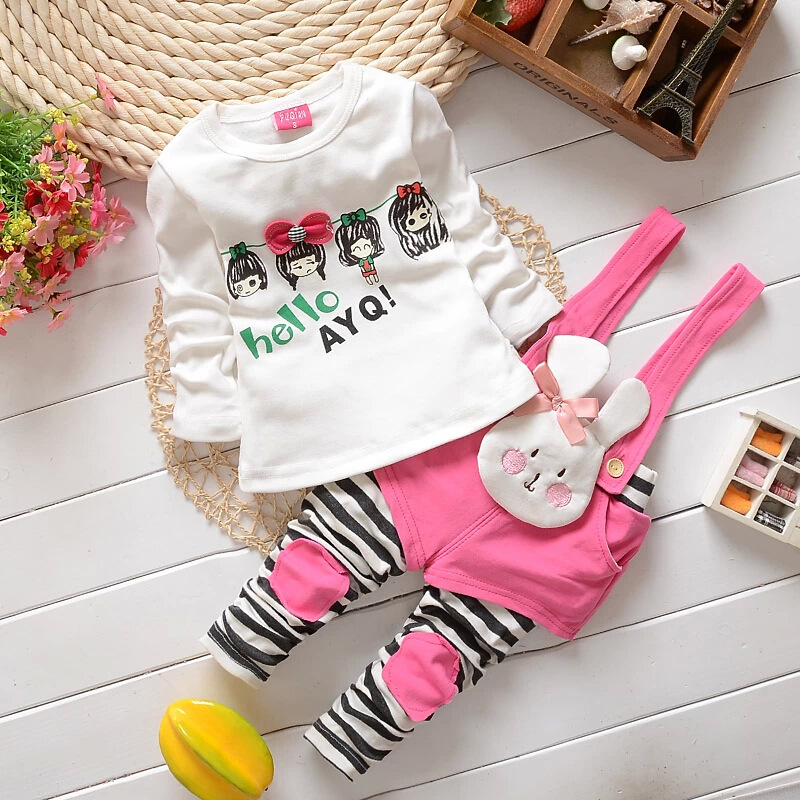 New 2015 Rabbit Children's Sets Cute T-shirt & Bunny Overalls 2pcs Sets Baby Girl Clothing Set Girls' Clothing Kids Fall Clothes(China (Mainland))