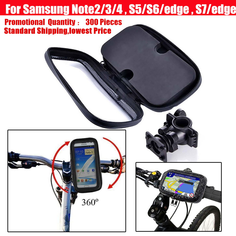 waterproof case bike phone bag pouch for bicycle cycle handlebar mount holder for Samsung Galaxy Note 2 3 4 5 / S5 S6 S7 edge(China (Mainland))