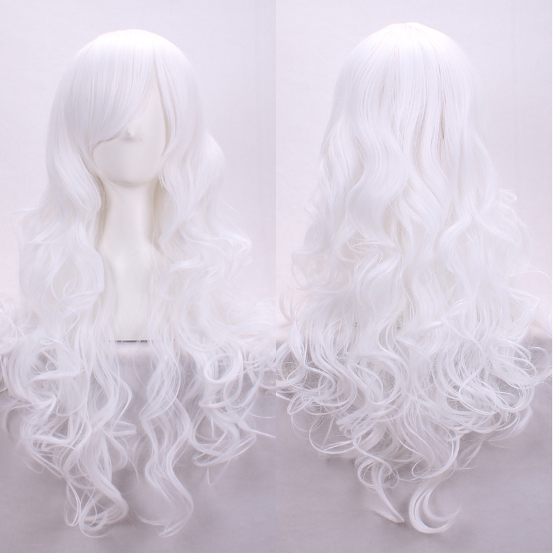 fast shipping women wigs ombre wig white natural hair heat resistant synthetic wigs cosplay long white wig curly + free hairnet(China (Mainland))